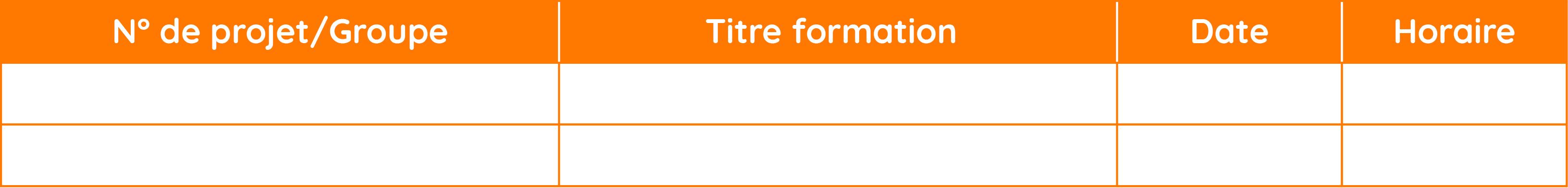 N° de projet/Groupe - Titre formation- Date - Horaire